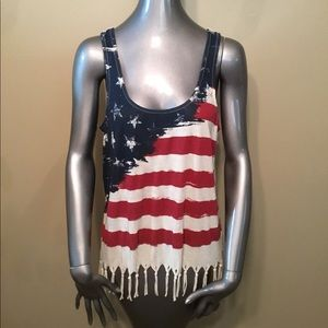 Others Follow American flag fringe modal tank tops